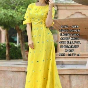 Rayon fabric kurti with mirror work yellow