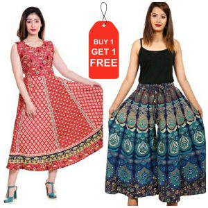 cotton jaipuri frock with get jaipuri plazzo