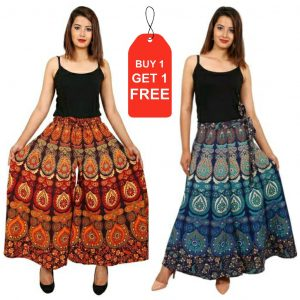 cotton jaipuri plazzo with get jaipuri shirt free