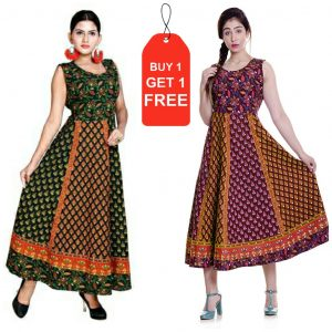 Cotton jaipuri frock buti