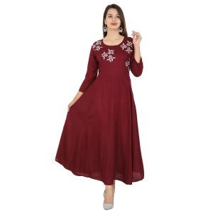 marron with white embrodery rayon kurti